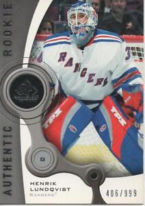 2005 06 Sp Game Used Henrik Lundqvist Rookie Card 406 999 Ebay