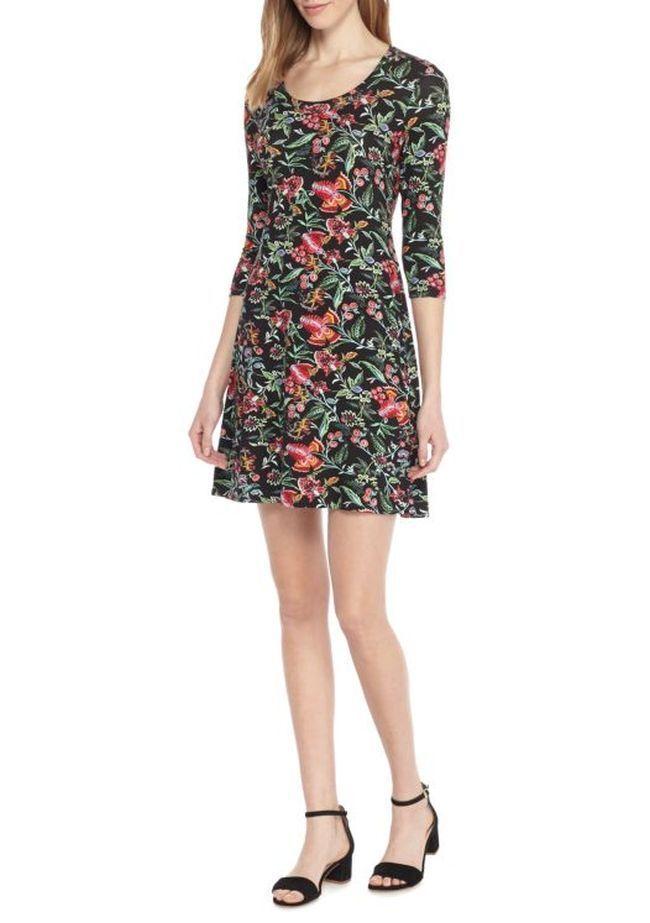 NWT Karen Kane Three-Quarter Sleeve Floral A-line Dress  118