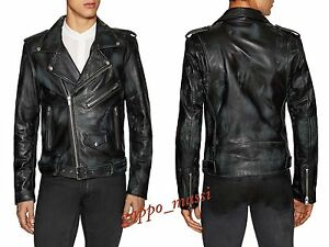 610102c4e9 NWT BLK DNM 5 in scratch Mens DISTRESSED LEATHER Jacket Large BLUE ...