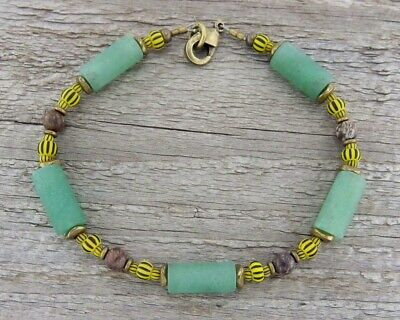 Rustic Unisex Boho African Tribal Style Necklace in Stone and Trade Beads Indie