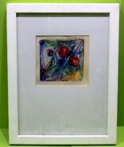 """ Abstrait Fleurs 4 "" Aqua. Sign. / Daté Karlheinz Manetstoetter 2001 In Cadre"