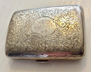 Lovely-Antique-Victorian-Silver-Gold-Lined-Birm-1899-Cigarette-Money-Case