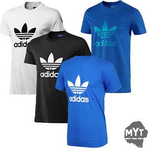 adidas-Mens-T-Shirt-Originals-Crew-Neck-Trefoil-Cotton-Tee-Top-Size-S-M-L-XL