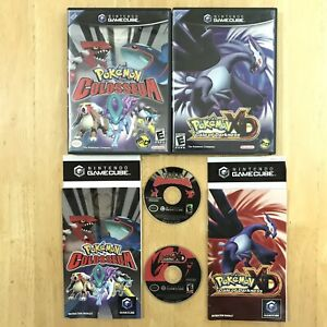 Pokemon-XD-Gale-of-Darkness-amp-Colosseum-Gamecube-Complete-CIB-W-Manuals-TESTED