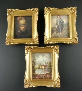 Vintage-Lot-3-Ornate-Gold-Picture-Frames-Illinois-Molding-Plastic