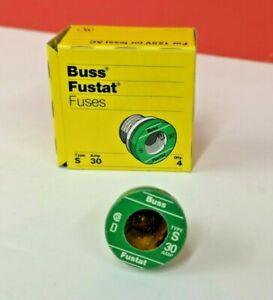 4-PK-S-30-FUSTAT-Plug-Fuse-BUSS-Bussmann-NEW-Fuses-30-A-TIME-DELAY-LOT-OF-4