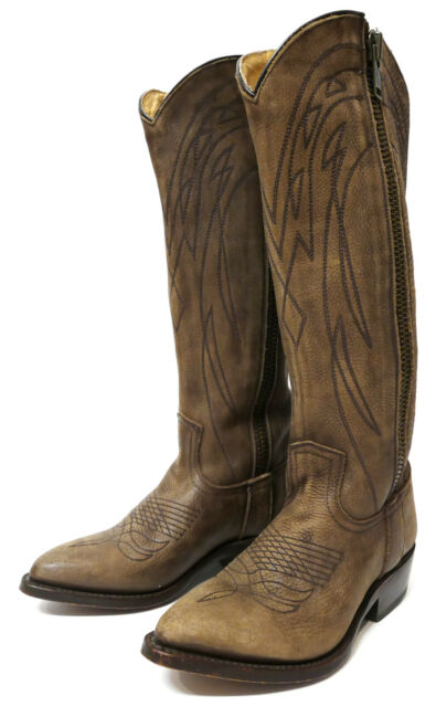 Rust Brown Size 6,5 US High Heels Frye Leather Riding Boots