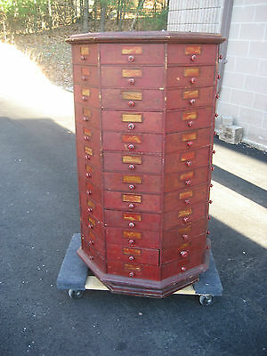 """c1900 BOLT & SCREW ANTIQUE octagonal hardware store cabinet 96 drawer 42.5"""" tall"""