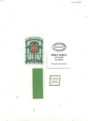 Simulated Stain Glass SLIM08 dollhouse miniature door insert  1//12 scale 1 sheet