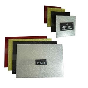 ebf63ba73765 Glitter Placemats or Coasters Gold Silver Black Red Christmas Table ...