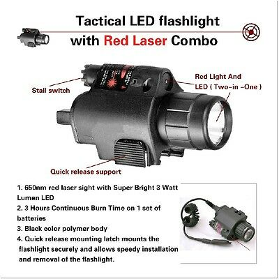 Tactical Combo Cree Flashlight/Lights  Red Laser Sight Fit For Pistol/Glock