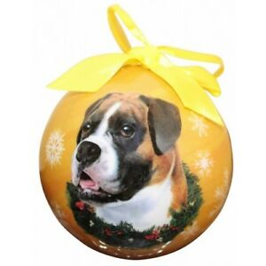 Boxer Uncropped Dog Pet Christmas holiday ball Ornament Love Your Dog gift boxed