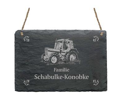 Türschild « TRAKTOR » Schiefer pers Schild Name Namensschild Trecker Landwirt