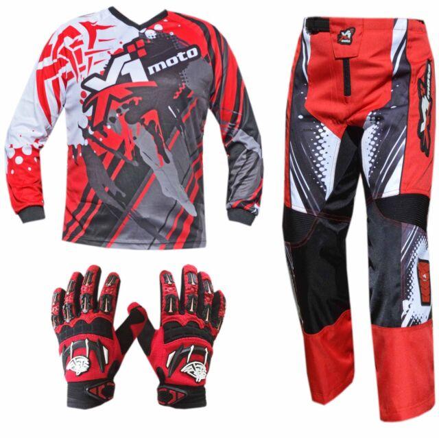 RED ADULT MX JERSEY PANTS GLOVES Dirt Bike Gear Off road Motocross BMX MOTOX