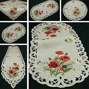 Embroidered Poppy Table Runner Dining Linen Floral Tableware Tablecloth Cover