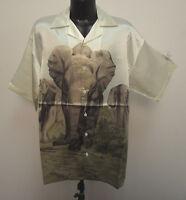 Elephant Shirt Leals Unlimited Mens Charlie Sheen Bowling Barracuda Hawaiian Wht