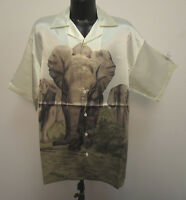 Elephant Shirt Leals Unlimited Mens Charlie Sheen Bowling Barracuda Hawaiian Wht