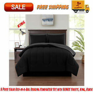 Black King 8 Piece Solid Bed-in-a-Bag Bedding Comforter Set with BONUS Sheets