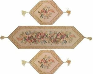 DaDa Bedding Floral Beige Spring Tapestry Table Runner Placemats Cloth Set 3PCs