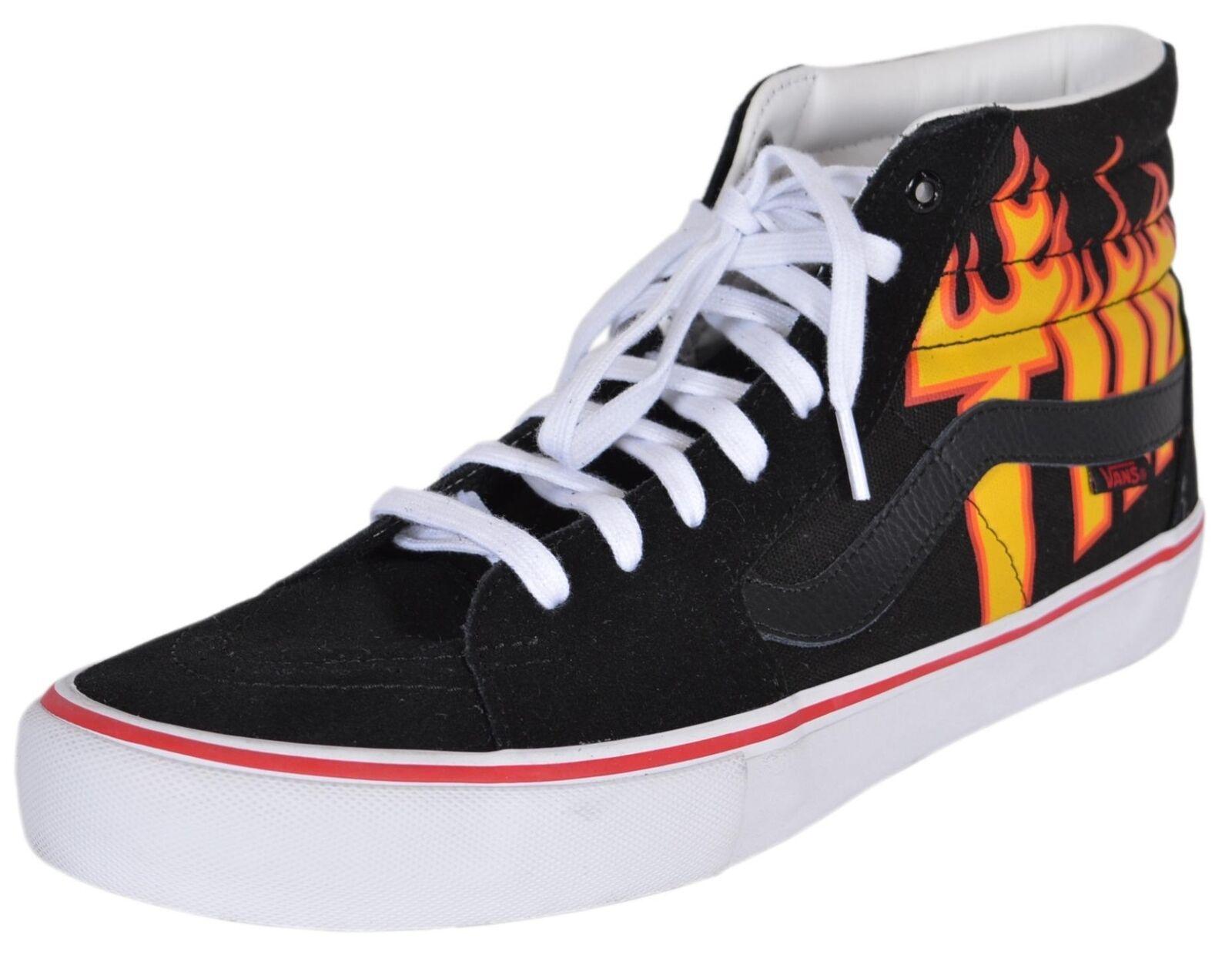 NIB VANS Men's SK8-Hi Thrasher Black Flame High Tops Skate Shoes Sneakers