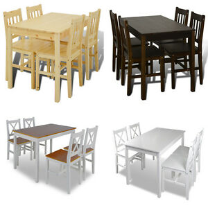 Holztisch-Esstisch-Sitzgruppe-Essgruppe-Tischset-Esszimmer-Esstischset-4-Stuehle