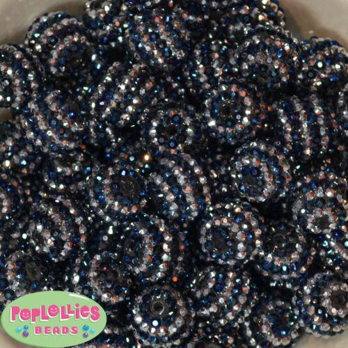 20mm Navy Blue and Silver Stripe Rhinestone Bubblegum Beads 20 pc Chunky Gumball