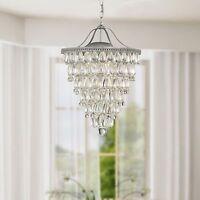 Cone Shape 4-light Matte Silver Crystal Chandelier on sale