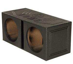 Q-Power-QBomb-QBOMB12V-Dual-12-034-Vented-Port-Subwoofer-Sub-Box-w-Bedliner-Spray
