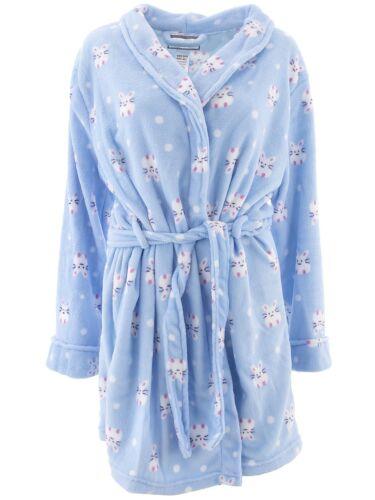 Inteco Intimates Women/'s Plush Fleece Bunny Blue Bathrobe Onesize