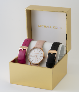 712681676700 Michael Kors Ladies Pyper Three-Hand Multi-Color Leather Watch Set ...