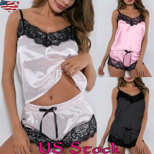 Women Satin Silk Lace Sleepwear Shorts Babydoll Lingerie Nightdress Pyjamas New