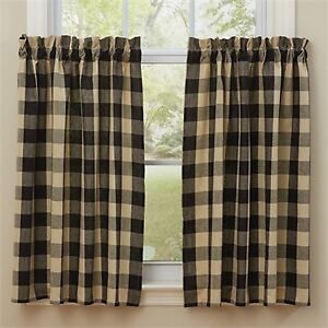 "Window Curtain - Tier Pair 36"" L - Wicklow in Black by Park Design"