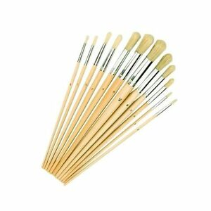 Brush Majsterkowanie Silverline 868848 Artists Paint Brushes With Rounded Tips 12 Piece Set