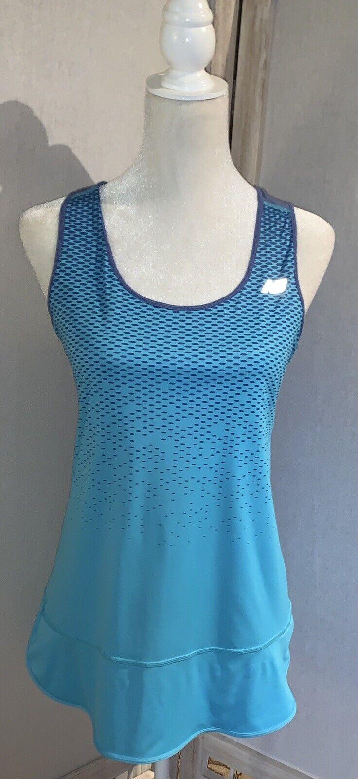 New Balance Medium Athletic Tank Shirt Multi-Color Sleeveless Slits Dots Runn