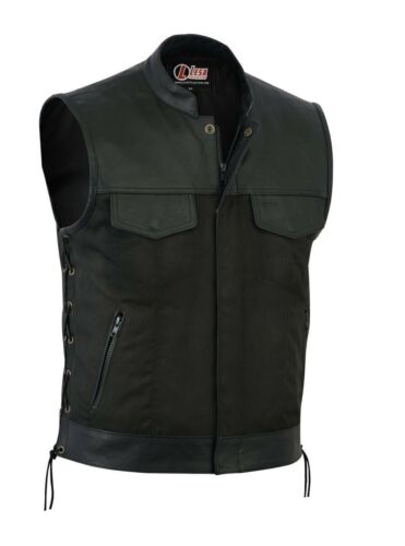 New Mens Codura Biker Waistcoat//Vest Black Real Leather Trim Side Laced Up