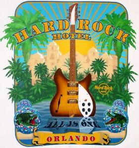 Hard-Rock-Hotel-ORLANDO-2008-City-Tee-T-SHIRT-MWMT-XL-Facade-Palm-Trees-Guitar