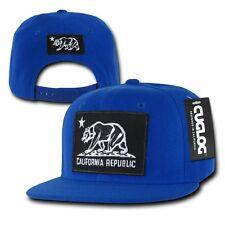 Blue California Cali Republic Flag Bear Black Patch Snapback Caps Cap Hats Hat