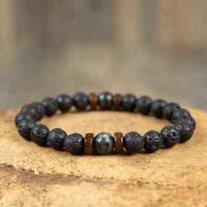 Natural Lava Stone Healing Therapy Bracelet-Inner Peace Balance Meditation Mala