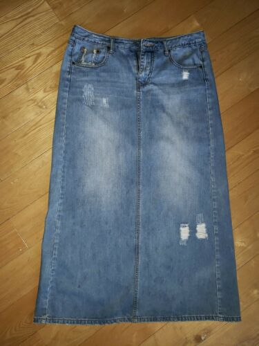 Womens Long Maxi Denim Stetson Skirt 12