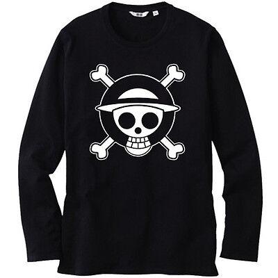 New ONE PIECE Pirates Skull Logo Luffy Mens Long Sleeve Black T-Shirt Size S-3XL