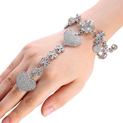 Wedding Bridal Bracelet Heart Love Ring Sz Free Austrian Crystal Silver GP Gift