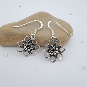 Lotus Earrings Oxidized Solid Sterling Silver Lotus Flower Dangle