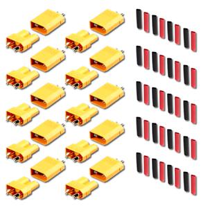 5-Paar-10-Stueck-XT30-Stecker-Buchse-Lipo-Akku-RC-30A-inkl-Schrumpfschlauch