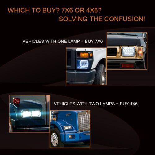 "4PCS 4x6/"" 75W Sealed LED Headlights for Chevy C10 C20 C30 K10 Pickup C4500 C5500"