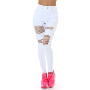 Jeans High Waist Ladies Skinny Jeans Jeans trousers Used Look with net