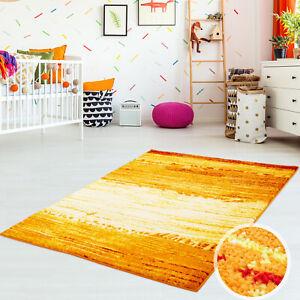 Teppich Flachflor Shake Modern Orange Rot Wohnzimmer Meliert in Blau Grün