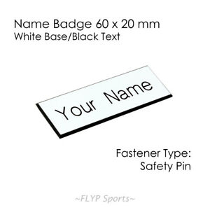 Name Badge Tag Plate WHITE/BLACK Safety Pin 6x2cm Personalised Engraved Employee