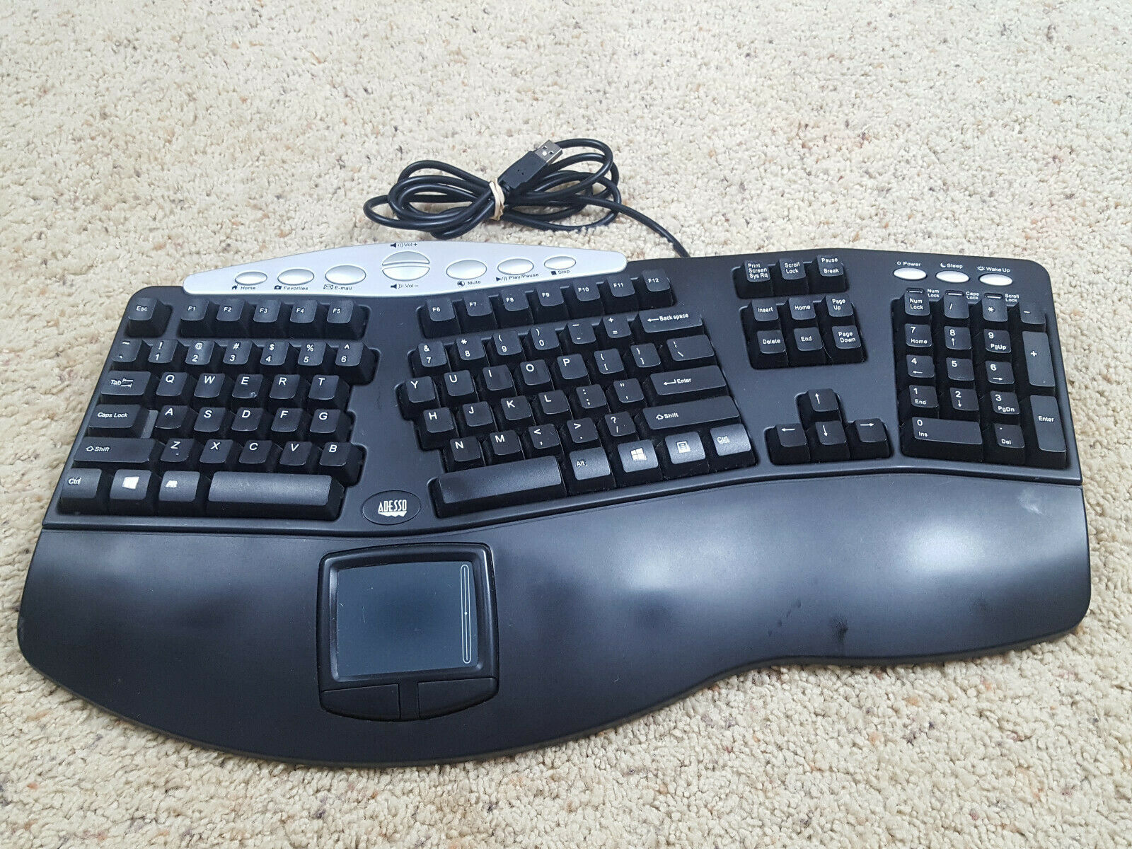 Adesso Pck-308ub Ergonomic Contoured Multimedia Touchpad Keyboard. Buy it now for 59.95