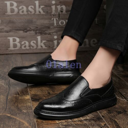 Mens Retro Oxfords Formal Carved Brogue Slip On Loafer Shoes Pump Fall 2019 New