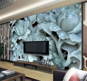 3D Lotus Jade 72 Wallpaper Mural Paper Wall Print Wallpaper Murals UK Carly